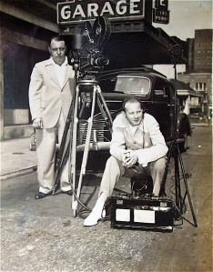 Newsreel Man (Charles Peden in front with sound equipment)