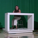 Store fixture transformed into TV anchor desk